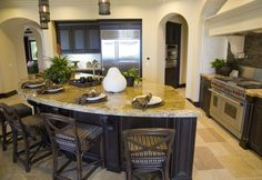 do it yourself kitchen island with seating   Small kitchen with rounded kitchen island and drop ceiling that ...