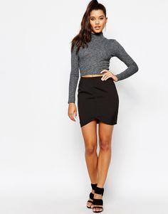 Image 1 ofMissguided Curve Hem Mini Skirt