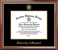 University of Maryland College Park Diploma Frame - Embossed Seal - Mahogany Gold Trim
