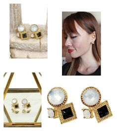 """Fashion golden rim white and green crystal ball earrings"" by oceanfashion on Polyvore"