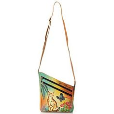 Anuschka Hand-Painted Leather Cross Body Bag