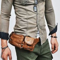Accessories :: Bags :: Multi-compartments Leather Hipsack - bag 22 - New and Stylish - Fast Mens Fashion - Mens Clothing - Product