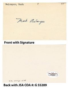 """Mark Belanger Signed Index 3x5 Card 1965-82 Baltimore Orioles JSA COA Dodgers . $30.00. All-Star Major League Baseball ShortstopMark BelangerHand Signed 3x5"""" Index CardBelanger Played For:Baltimore Orioles 1965-1981Los Angeles Dodgers 1982.GREAT AUTHENTIC MARK BELANGER BASEBALL COLLECTIBLE!!AUTOGRAPHS AUTHENTICATED BY JAMES SPENCE AUTHENTICATIONS WITH NUMBERED JSA STICKER ON ITEM AND MATCHING NUMBERED JSA CERTIFICATE OF AUTHENTICITY (COA) INCLUDED WITH ITEM.JSA COA #: ..."""