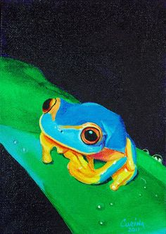 Blue Tree Frog - Wildlife Art Original Acrylic Painting on Canvas 5 x 7 - By…