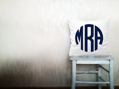 Monogrammed pillow decorative throw pillow circle custom monogram pillow cover white cotton toss letter pillow case 22x22 inches ohtteam