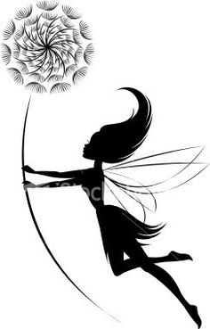 A fairy flying with a dandelion in her hands. The dandelion can be deleted if only the fairy is desired. Tattoo Silhouette, Fairy Silhouette, Pixie Tattoo, Elfen Tattoo, Fairy Drawings, Fairy Tattoo Designs, Fairy Art, Life Tattoos, Wrist Tattoos