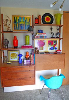 mid-century  wall unit (decor, home, interior,  mcm, midcentury, retro, design, color)