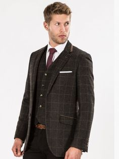 Brown Checked Tweed Look Tailored Fit Blazer