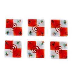 Square Coaster Set of Handmade Fused Glass Decorative Drink Serving Holder, Red Opera Spiral Design Red Day, Handmade Kitchens, Practical Gifts, Color Blending, Drink Coasters, Home Decor Items, Coaster Set, Fused Glass, Spiral