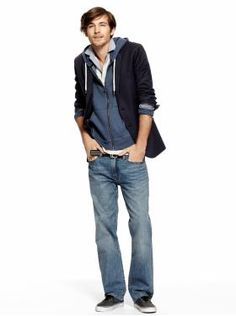 Pinstripe Blazer, Chambray Collar Polo, FZ Hoodie, & Standard Fit Jeans from The Gap. Love these jeans now that I'm wearing them! Got Costumes, Urban Looks, Photoshoot Inspiration, Gentleman Style, Winter Looks, My Guy, Collar Shirts, Hoodie Jacket, Jeans Fit