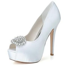 Womens White Stiletto Peep-Toe Heels