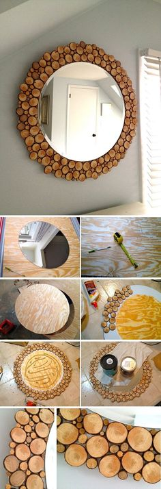 DIY Wood Slice Mirror Frame