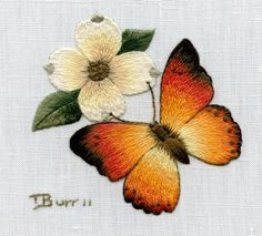 Wonderful Ribbon Embroidery Flowers by Hand Ideas. Enchanting Ribbon Embroidery Flowers by Hand Ideas. Butterfly Embroidery, Paper Embroidery, Learn Embroidery, Hand Embroidery Stitches, Silk Ribbon Embroidery, Crewel Embroidery, Hand Embroidery Designs, Embroidery Techniques, Embroidery Patterns