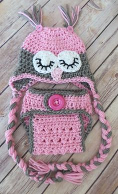 Sleepy Owl Hat Crochet Owl Hat Diaper Cover Set PINK and