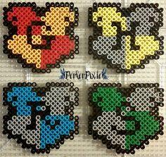Hogwarts House Crests - Harry Potter perler beads by PerlerPixie
