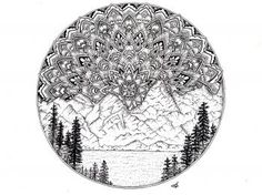 hand drawn illustration of the rocky mountains in Colorado with a mandala sunrise.  #artFidoNAAS