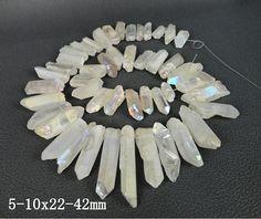 16 inches strand&Approx 47pcs of Rainbow White Mystic Titanium AB Quartz Crystal point bead,Tusk shape raw crystal pendant bead 5-10x22-42mm...