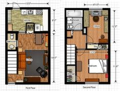 I usually avoid multi-level plans, but this is very well designed. Just under 800 square foot.