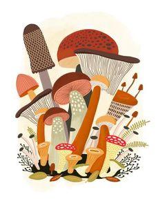 Portrait de famille / family portrait is an original digital art print by Elise Gravel . Each x inch archival quality giclée print is a sign Mushroom Drawing, Mushroom Art, Autumn Illustration, Botanical Illustration, Elise, Art Gallery, Guache, Matte Painting, Illustrations