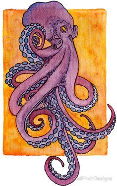 Purple octopus tattoo style watercolor illustration octopus tattoo 'Purple octopus tattoo style watercolor illustration' Sticker by RedFinchDesigns Octopus Drawing, Octopus Painting, Octopus Tattoo Design, Octopus Tattoos, Octopus Art, Octopus Tentacles, Watercolor Illustration, Watercolor Art, Octopus Illustration