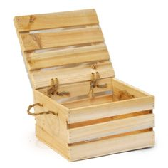 Natural Wooden Crate Storage Box with Lid - Small