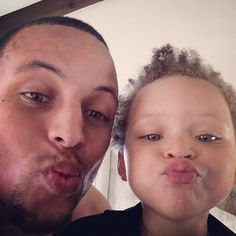 Steph Curry makes a kissy face on Instagram with his sweet daughter Riley Curry.