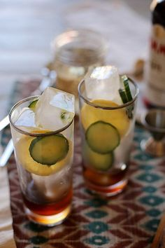 A Delightful Pimm's Cup Recipe, Straight From New Orleans #refinery29  http://www.refinery29.com/joy-the-baker/35#slide-9  Pimm's CupMakes two cocktails  Ice 8 thin slices English cucumber 4 thin slices lemon 4 ounces Pimm's No. 1 8 ounces ginger ale Fill two tall glasses with ice. Add a few cucumber slices and lemon slices to each glass. Pour two ounces of Pimm's No. 1 into each glass. Top each glass with ginger ale and garnish with any remaining cucumber and lemon. Serve and enjoy! Click…