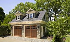 Did you remember to shut the garage door? Most smart garage door openers tell you if it's open or shut no matter where you are. A new garage door can boost your curb appeal and the value of your home. Shed Design, Garage Design, Garage Decor, Wooden Garage, House Exterior, Carriage House Garage, House Styles, Garage Plans Detached, Carriage House Plans