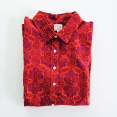 [J. Crew] classic button-down Button-down printed Perfect Shirt from J. Crew Factory. Red & purple print. Super lightweight, 60% cotton, 30% silk. Size S. NEW WITH TAGS. J. Crew Tops Button Down Shirts