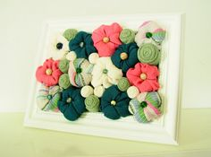 Fabric flower shabby chic framed art 3D design home by mapano, $48.00