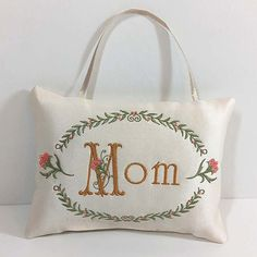 Personalized monogram Pillow Puff.  Victorian wall, drawer, door knob hanger, decorative accent for home or office decor.  Custom monogram embroidery designed by SteadyThreadsStudio.com #monogrampillows #floralpillows  Gifts under $50.  #mothersdaygift #giftsformom