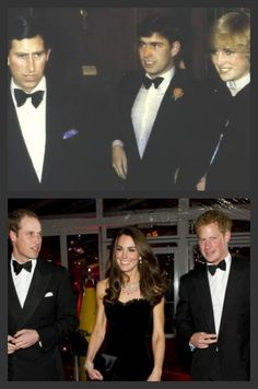 *TOP: Prince Charles, Andrew & Princess Diana ~ BOTTOM: Prince William, Kate & Prince Harry