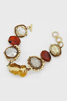 Gold Dipped Druzy Bracelet in Amber Agate, Black Diamond, and Vitrail Champagne Crystals - Gorgeous! ☀