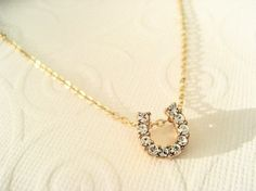 LAST ONECarrie CZ Horseshoe Necklace by RudeBitsJewelry on Etsy, $35.00