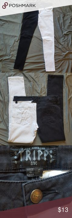 """Tripp 50/50 Black and White Skinny Jeans Overall good condition.  Inseam: 29"""" Patch on belt loop (as shown) barely visible from outside Tripp nyc Jeans Skinny"""