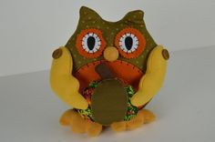 "Plush Owl Prima Creations  9"" Weighted Bottom Animal Harvest Center Piece"
