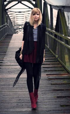 Black cardigan, striped top, oxblood skirt, opaque black tights, and oxblood booties. Great autumn look!