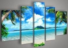 5 PC Hand Draw ART OIL Painting Scenic Beach Wall Decor Canvas NO Frame | eBay