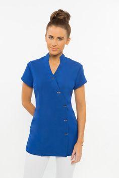 Spa05 tunic dove grey 600x900 massage therapy spa for Spa uniform blue