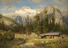 August Wilhelm Leu An Alpine Farm - The Largest Art reproductions Center In Our website. Low Wholesale Prices Great Pricing Quality Hand paintings for saleAugust Wilhelm Leu Great Paintings, Landscape Paintings, Animal Painter, Norway Fjords, Mountain Pictures, Fantasy Places, European Paintings, Canvas Artwork, Large Art