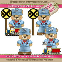 Train Bears Standing 2 Clipart Digital Download by MaddieZee, $1.50