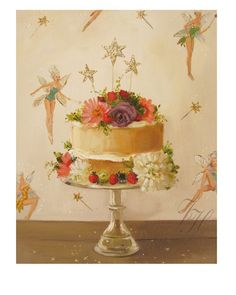 """Art Print: Fairy Cake Fine giclee art print of an original oil painting by Janet Hill Image is 8"""" x..."""