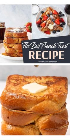 The BEST French Toast Recipe! A homemade, easy Christmas morning breakfast that melts in your mouth! Serve this light and fluffy classic french toast with butter, maple syrup, and a dusting of powdered sugar. Try this delicious holiday recipe for brunch! Best Brioche French Toast Recipe, Fluffy French Toast, Awesome French Toast Recipe, Homemade French Toast, Best French Toast, Cinnamon French Toast, French Toast Bake, Banana French Toast, Breakfast Toast