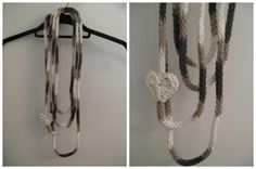 Icord scarf/necklace with heart by LittleMoonCrafts on Etsy, $10.00