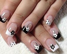 Manicure French tip nails black and white flowers - French Nail Designs, White Nail Designs, Nail Art Designs, Nails Design, French Manicure Nails, French Tip Nails, My Nails, Black Manicure, Super Nails