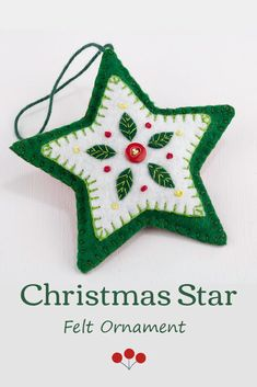 This hand stitched felt star has embroidered leaves and berries in green white and red, and is finished with a red button.The star has a loop for hanging and is 4 inches / 10cm high.;The price includes worldwide shipping. #starornament #feltchristmasornaments Scandi Christmas, Christmas Star, Green Christmas, Christmas Trees, Christmas Cards, Embroidered Leaves, Felt Embroidery, Felt Christmas Ornaments, Red Button
