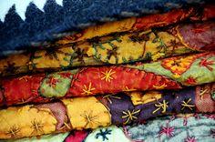 Simple but colorful crazy quilt stitches.