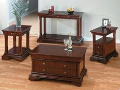 Jofran 299-4 - Regal Cherry Sofa Table with a Shelf and Drawer | Sale Price: $354.20
