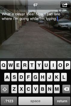 Type and Walk app for iPhone.  Uses your camera so you can still see where you're going while you text.