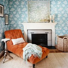 Chaise by the fireplace. I would love to read a book here on a rainy day.